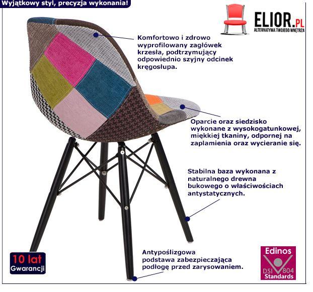Piękny fotel Loko - patchworkowy