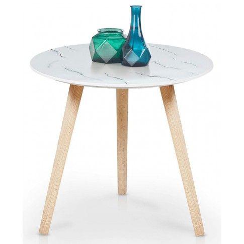 Zdjęcie produktu Drewniana ława Malia - biały marmur.