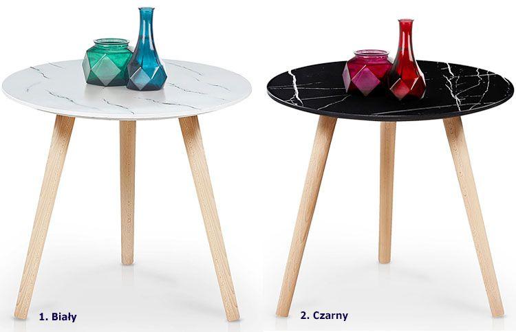 Okrągły stolik kawowy do salonu marmur Malia