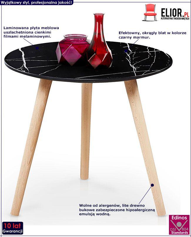 Czarny stolik kawowy z marmurowym blatem Malia