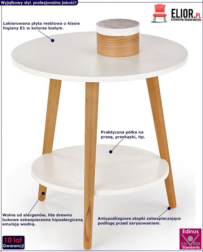 Lakierowany okrągły stolik kawowy biały Kori
