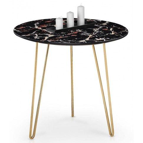 Zdjęcie produktu Ława Telia - ciemny marmur + złota.