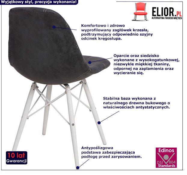 Pikowany fotel Roks - czarno biały