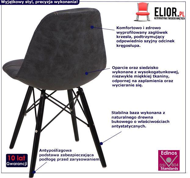 Modny fotel pikowany Roks - grafit