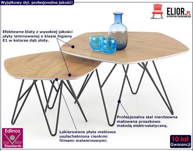 Komplet dwóch stolików do salonu dąb złoty Estri