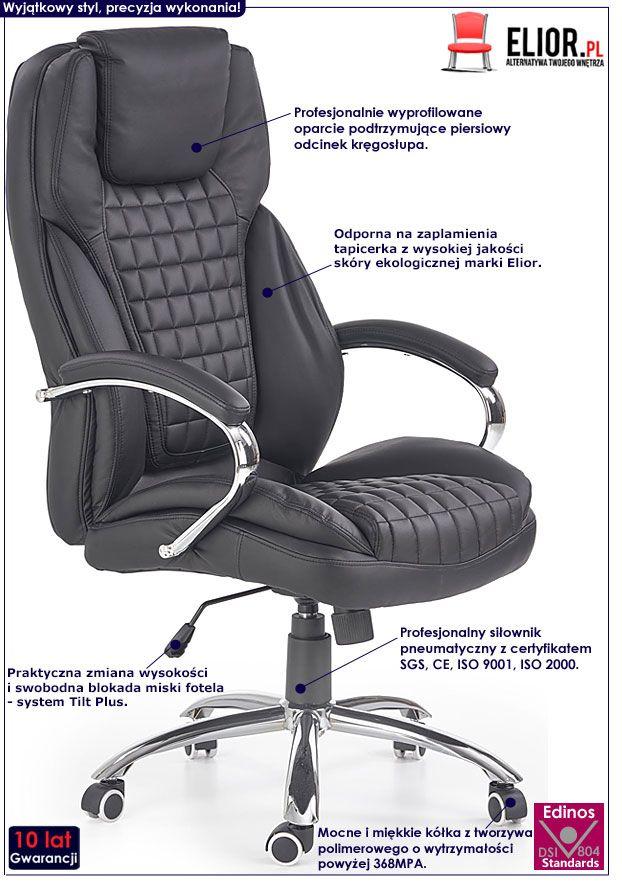 Czarny pikowany fotel obrotowy do biura, gabinetu Vivus