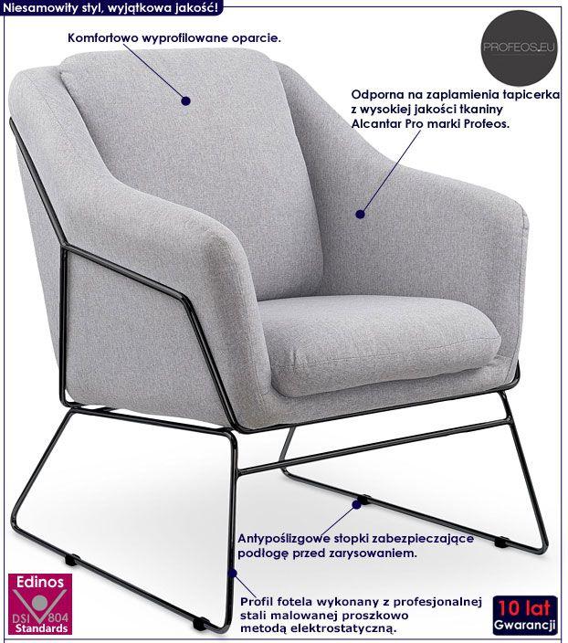 Szary fotel relaksacyjny do salonu Foster 3X