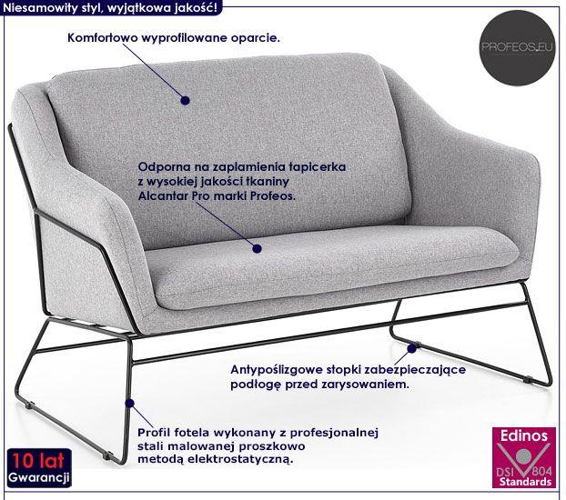 Dwuosobowa szara sofa do salonu, biura Foster 4X