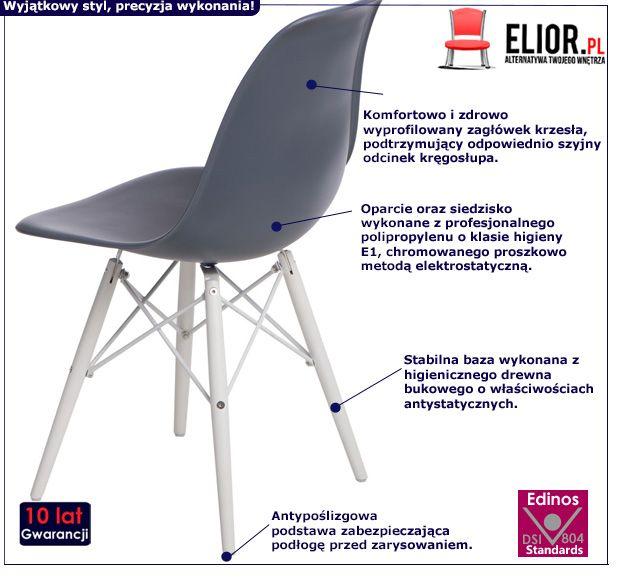 Modne krzesło Epiks - ciemnoszare