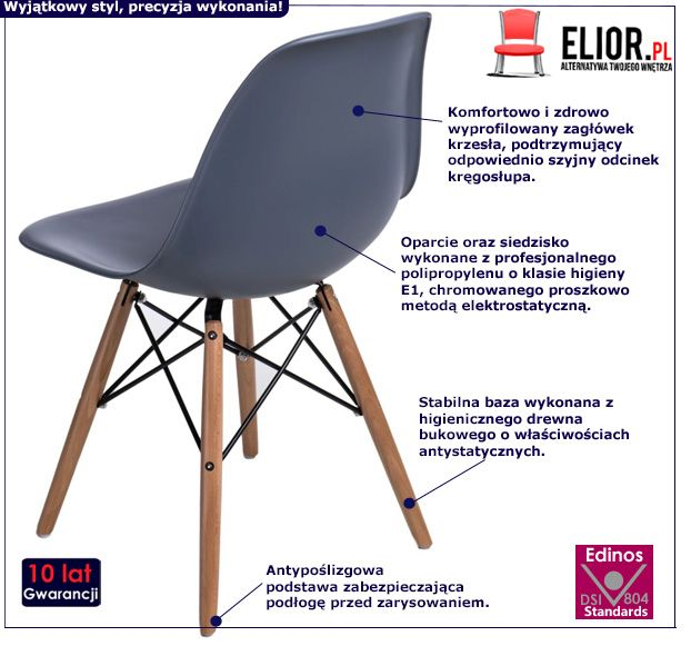 Rewelacyjne krzesło Epiks - szare