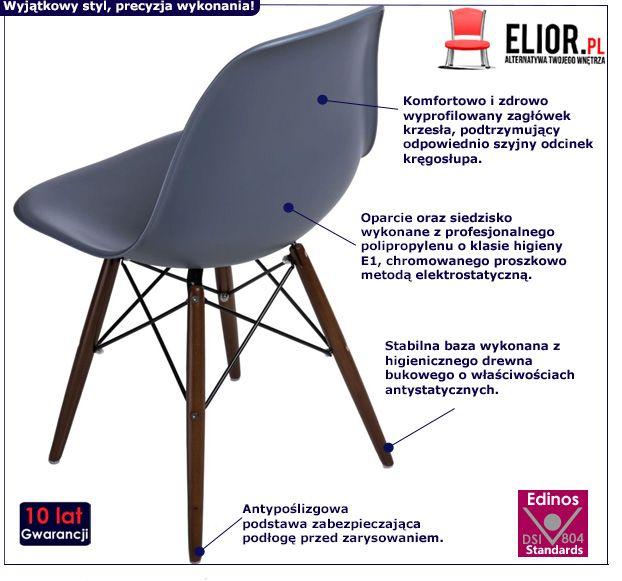 Nowoczesne krzesło Epiks - ciemnoszare