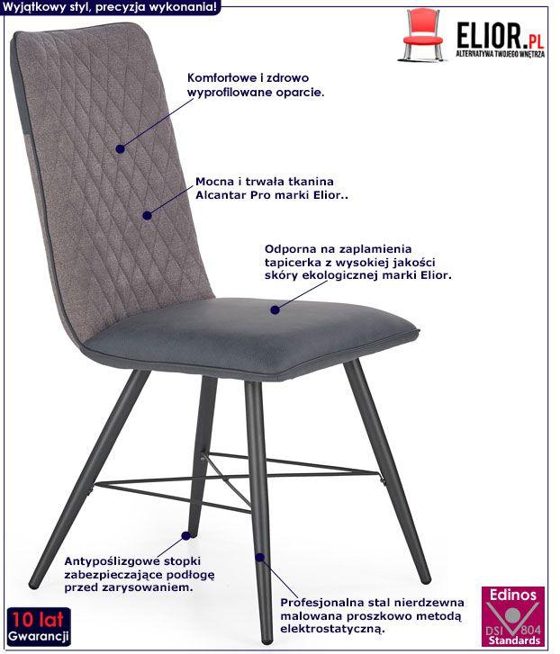 Szare krzesło do salonu, jadalni Mitan