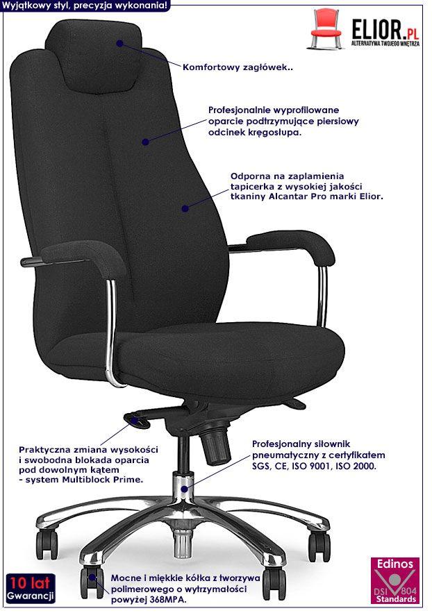 Czarny fotel obrotowy z zagłówkiem Verbis
