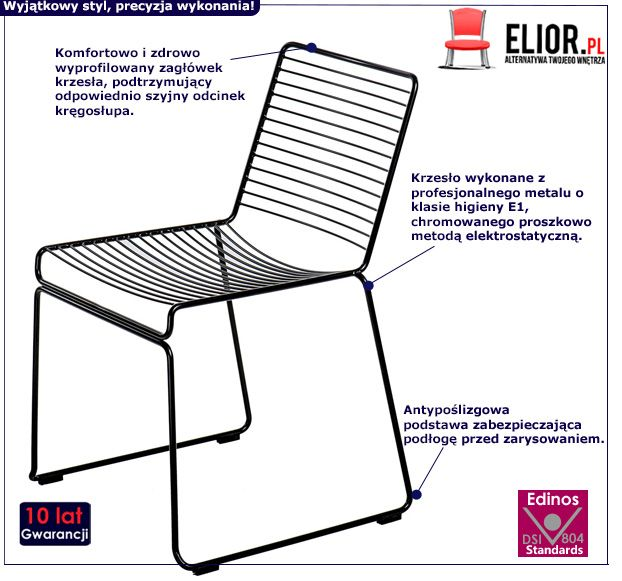 Klasyczne krzesło Hagos - czarne