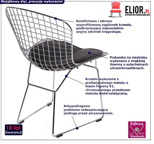 Stylowe krzesło dziecięce Luis - czarna poduszka