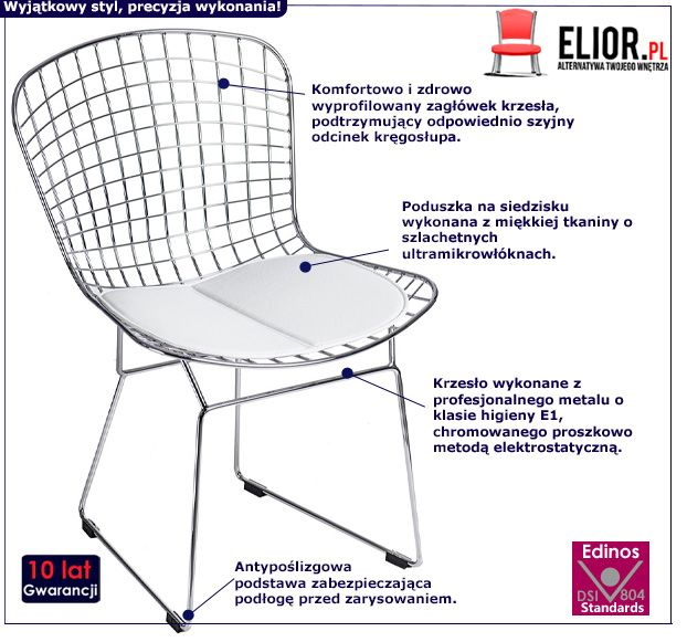Metalowe krzesło Luis 2X - srebrne