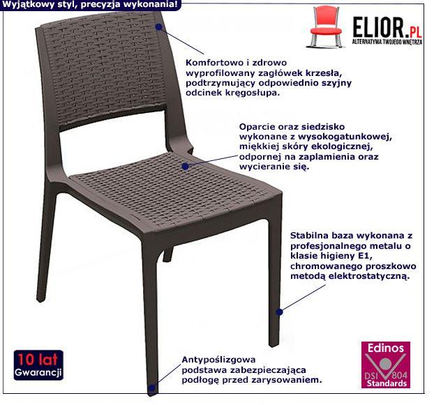Eleganckie krzesło Ario - brązowe