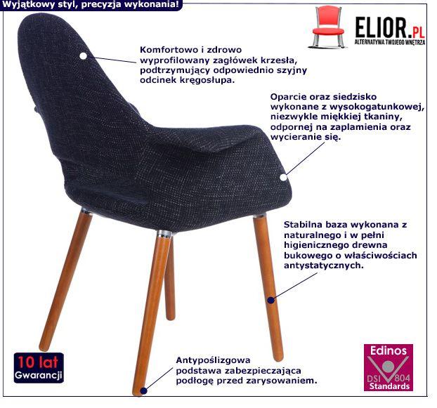Piękne krzesło Otrio - granatowe