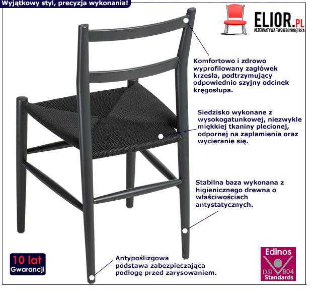 Modne krzesło Merlone - czarne