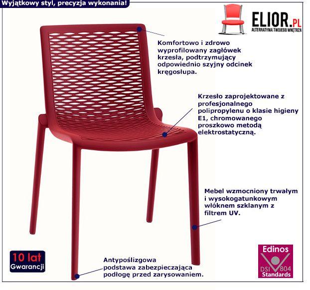 Industrialne krzesło Farry 2X - czerwone
