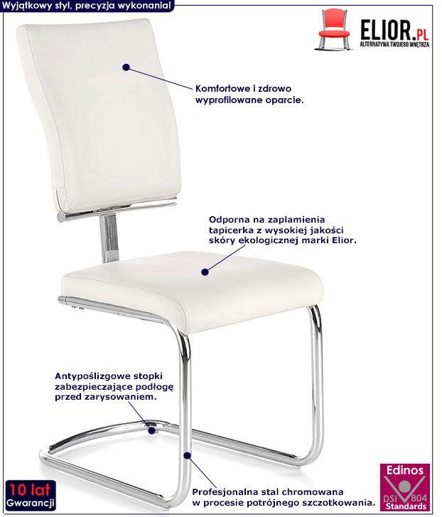 Nowoczesne białe krzesło kuchenne Tilon