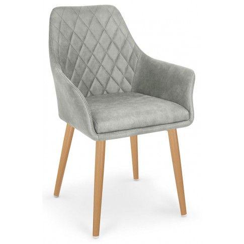 Zdjęcie produktu Pikowane krzesło z podłokietnikami Syvis - popielate.