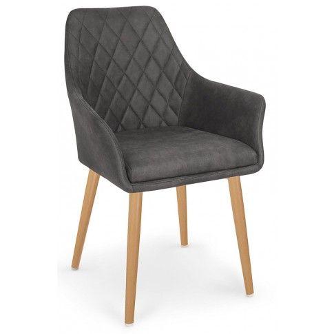 Zdjęcie produktu Pikowane krzesło z podłokietnikami Syvis - ciemny brąz.