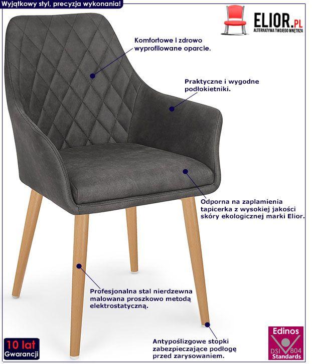 Ciemnobrązowe kuchenne krzesło pikowane Syvis