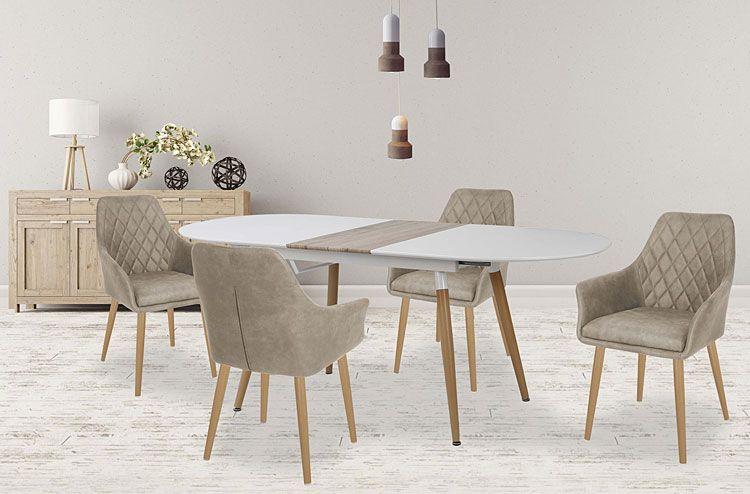 Beżowe krzesło pikowane w nowoczesnym stylu Syvis