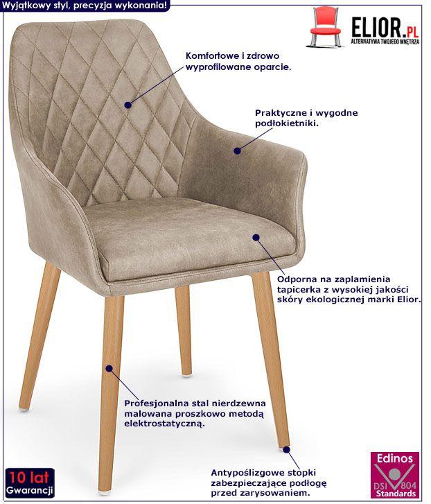 Beżowe krzesło tapicerowane do kuchni Syvis