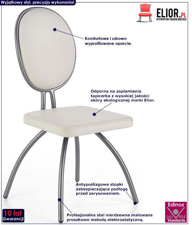 Szare krzesło kuchenne Minger