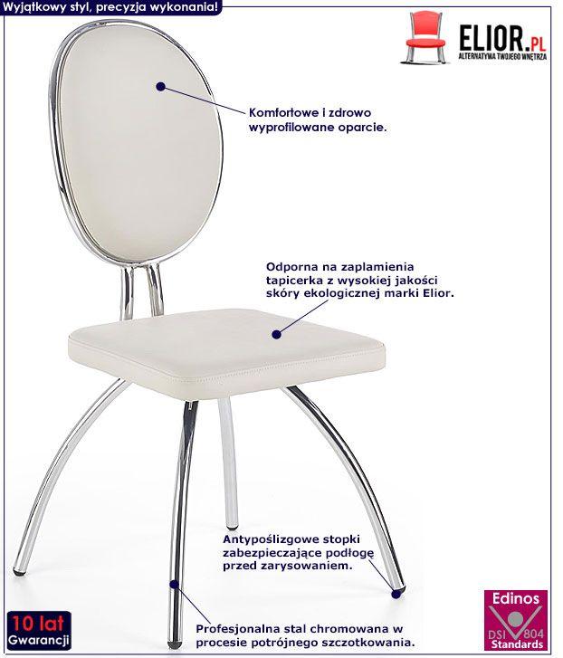 Popielate krzesło w nowoczesnym stylu Nores