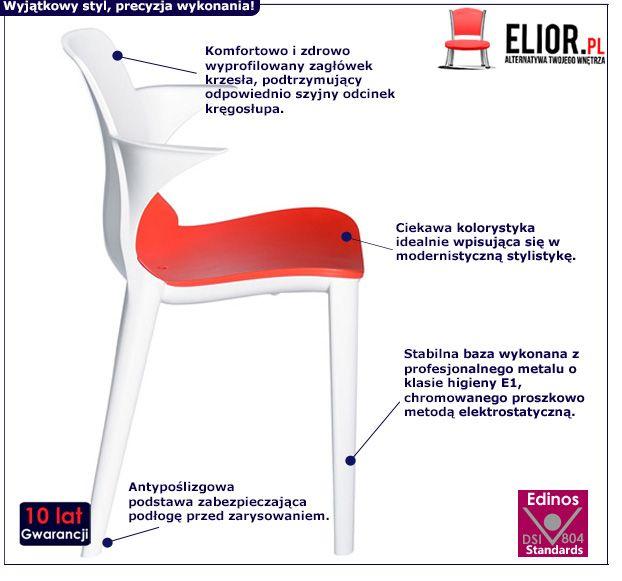 Nowoczesne krzesło Rommo - biało czerwone