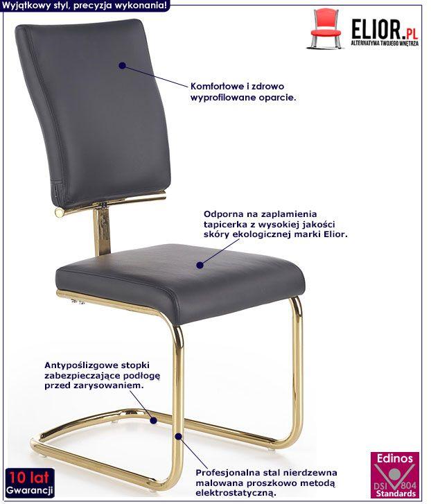 Złote krzesło kuchenne w stylu glamour Doran