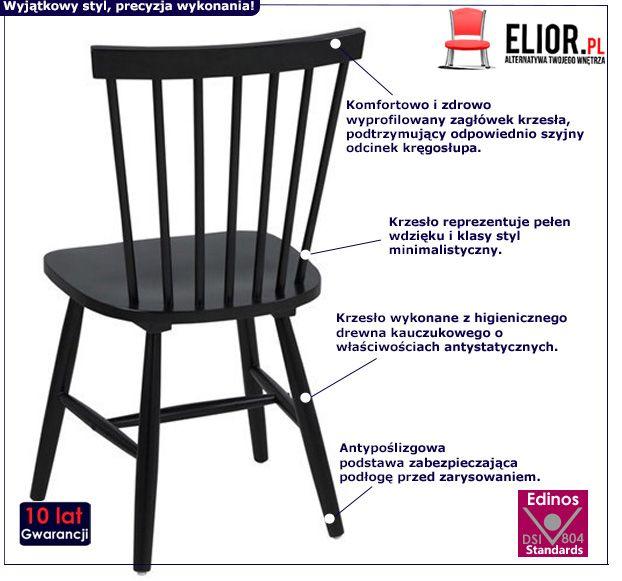 Minimalistyczne krzesło Tradis - czarne