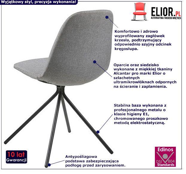 Piękne krzesło Vieden - szaro czarne