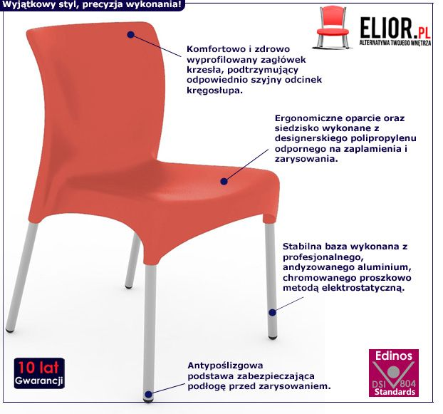 Nowoczesne krzesło Andio - czerwone