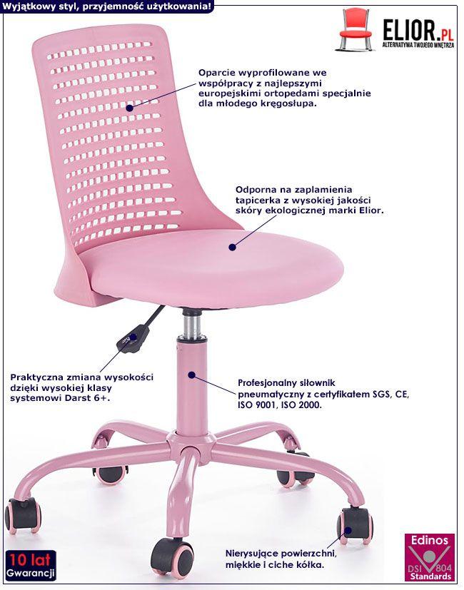 Różowe krzesło do biurka dla dziewczynki Moli