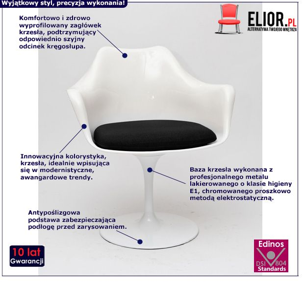 Nowoczesne krzesło Ambio 2X - biało czarne