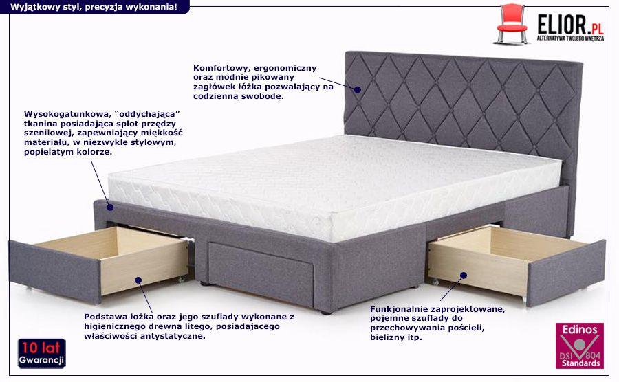 Pikowane łóżko Rosea z szufladami - szare