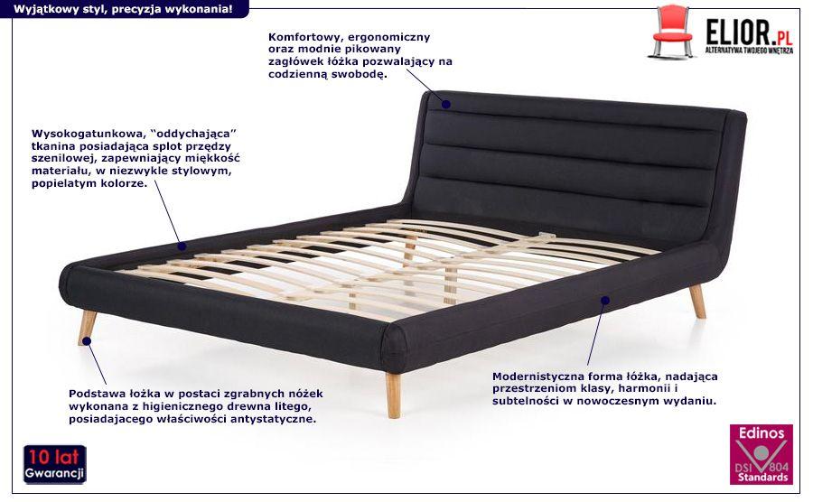 Piękne łóżko Dalmar - ciemnoszare
