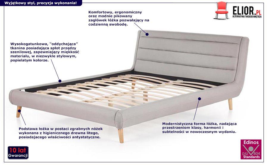 Nowoczesne łóżko Dalamr 160 cm - jasnoszare