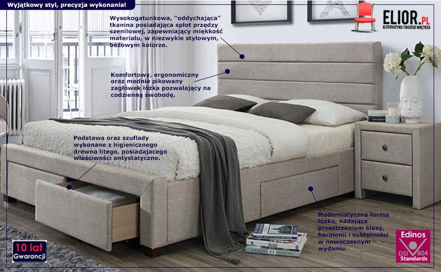 Stylowe łóżko beżowe Malito - z szufladami