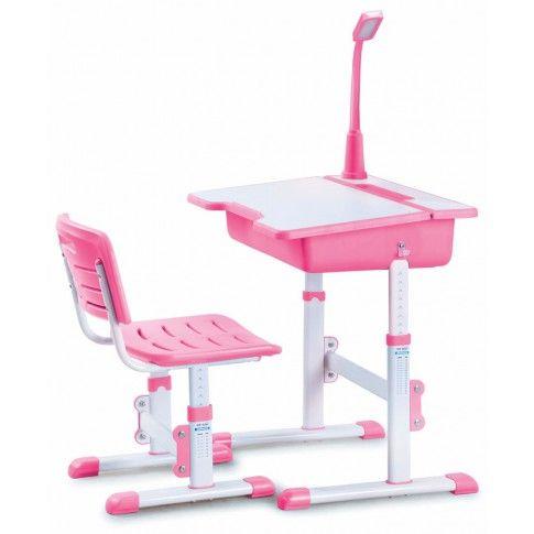 Zdjęcie produktu Biurko z krzesełkiem i lampką Fango - różowe.