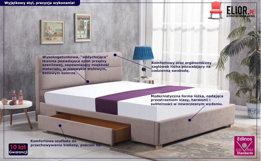 Komfortowe łóżko Laos - beżowe
