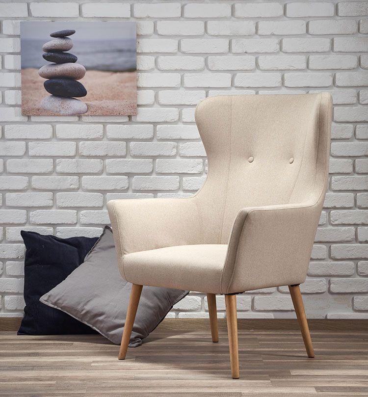 Tapicerowany beżowy fotel do czytania Devan