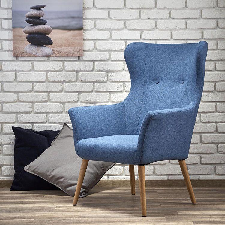 Niebieski fotel tapicerowany do sypialni Devan