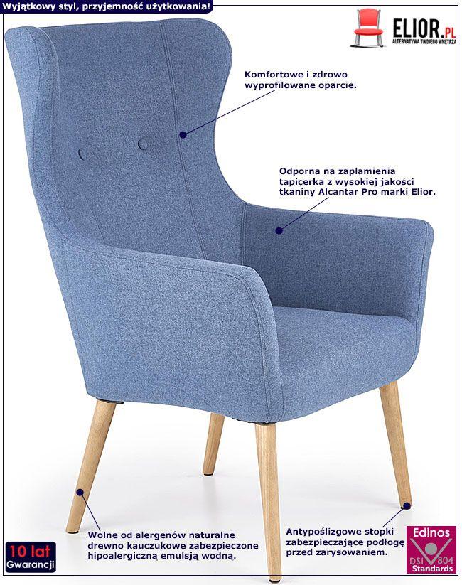 Niebieski fotel do oglądania tv Devan