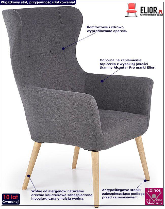 Ciemnoszary fotel tapicerowany do salonu Devan