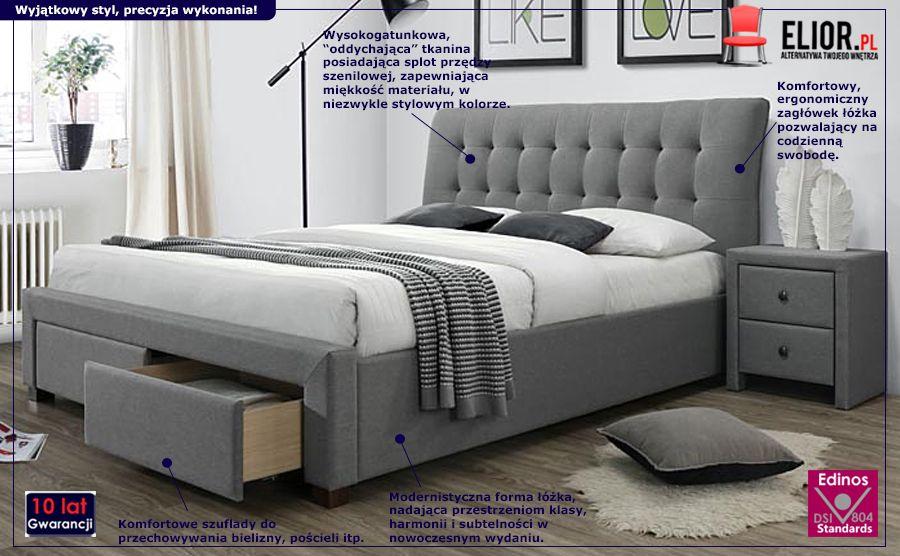Nowoczesne łóżko Almos - pikowane